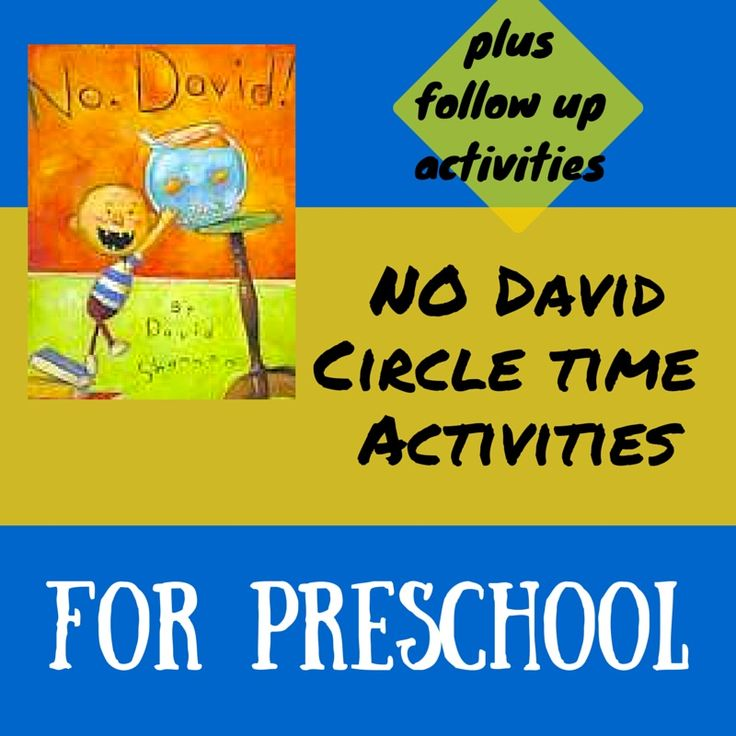 """No David"" circle time activities for preschool aged students. Great also for ESL. Includes fun activities and follow up activities."