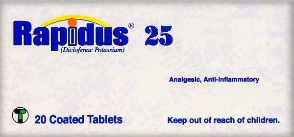 رابيدوس 25 مجم مسكن قوى و مضاد لاعراض الألتهاب و مخفض لدرجة الحرارة Inflammatory World Information Personal Care