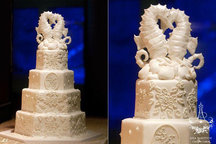 Indian Weddings Inspirations. White Ocean-theme Wedding Cake. Repinned by #indianweddingsmag indianweddingsmag.com