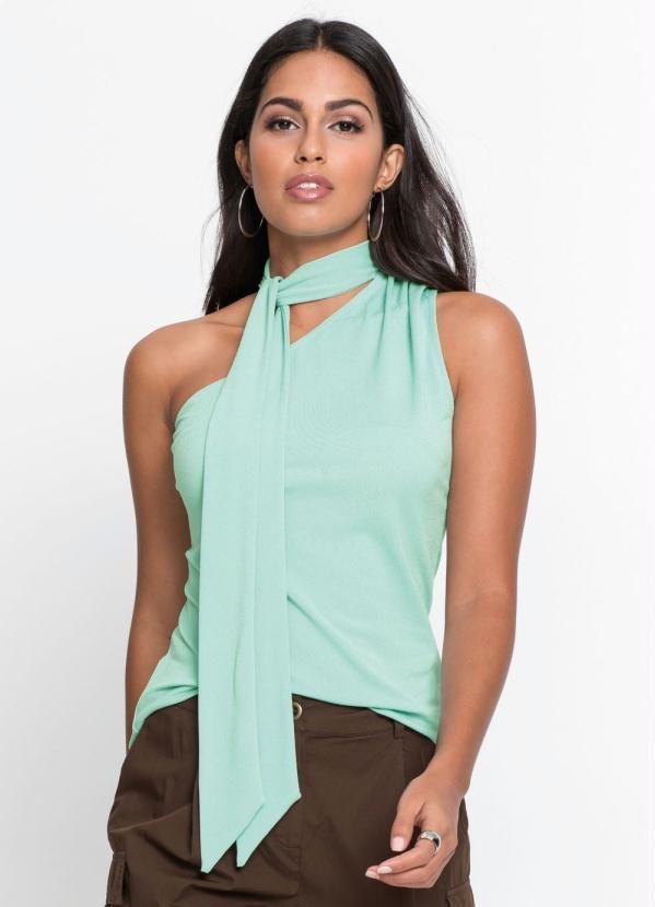 Blusa De Um Ombro So Com Amarracao Verde Claro Blusas Ideias De