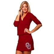 Oklahoma Sooners Ladies Crimson Rhinestone Drop Waist Dress