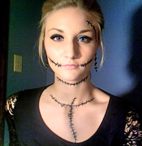 Make-up I did on myself for Halloween! I was Sally from the Nightmare Before Christmas!