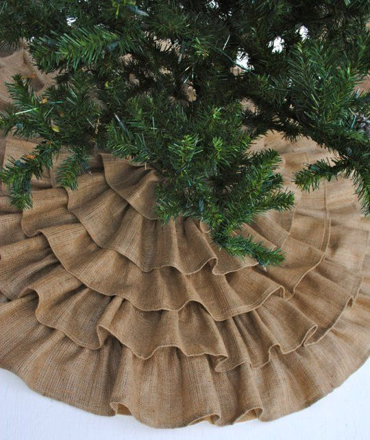 Make this in a small version to cover stands of fake Christmas tree decorations.   Ruffled Burlap Tree Skirt