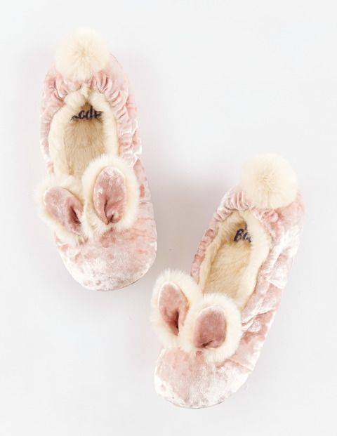 Velvet Bunny Slippers --every girl needs a pair..