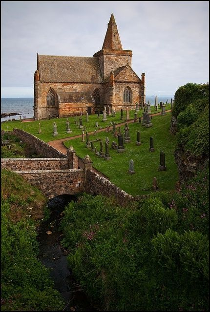 St Monans Parish Church is situated within its kirkyard just to the west of the village of East Neuk, Fife, Scotland.  As seen from most directions it has the sea as a backdrop.