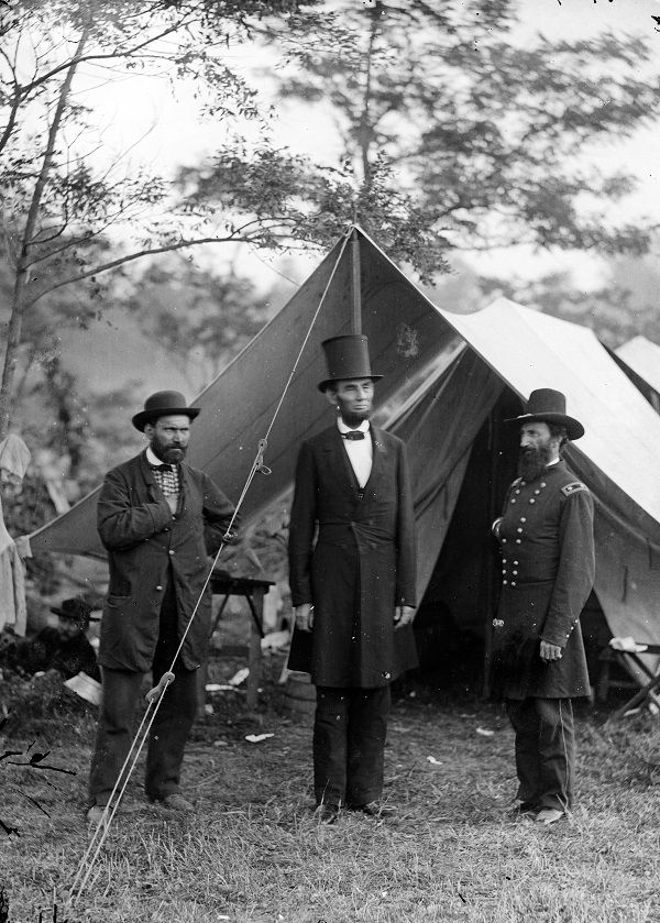 Abraham Lincoln and Major General John A. McClernand photographed by Alexander Gardner at the Antietam battlefield on October 3, 1862