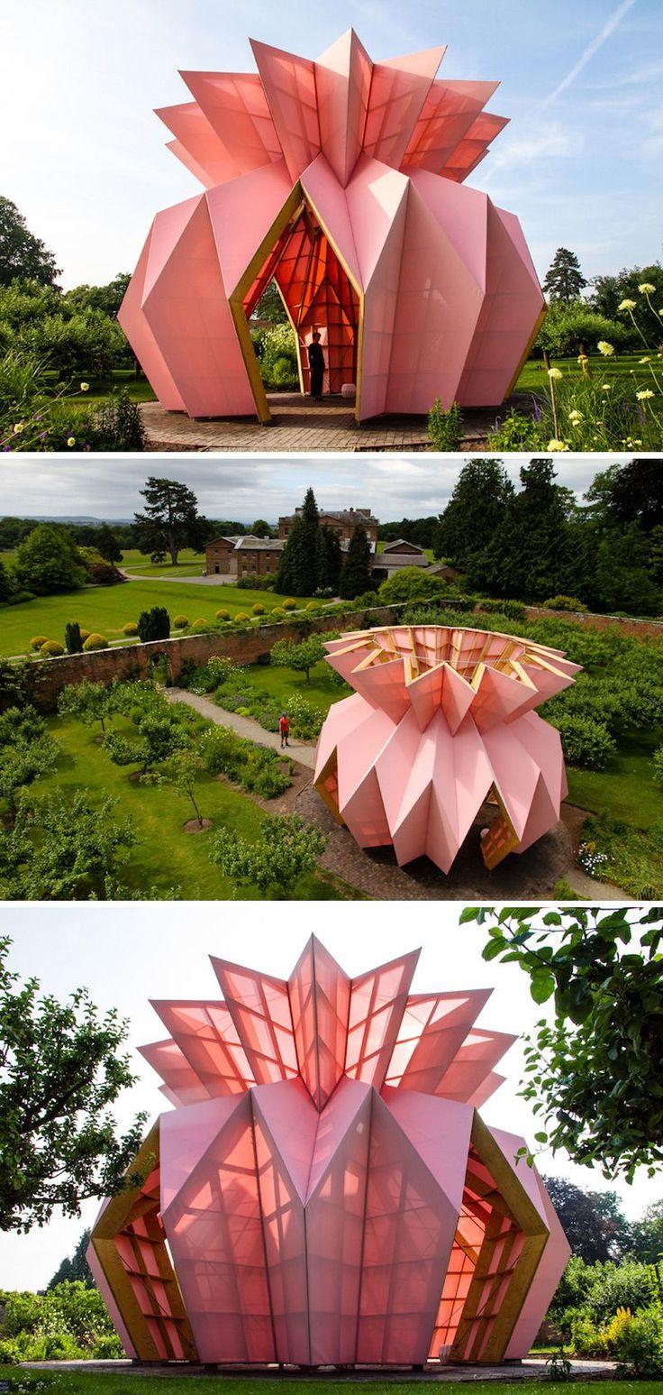 An Origami Pineapple Pavilion Opens Inside Berrington Hall's 18th-Century Garden #pavilionarchitecture