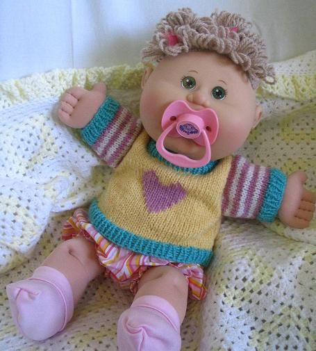 Knitting Pattern For Cabbage Patch Doll Clothes : Jumpers/Sweaters ++ to suit Cabbage Patch Babies and ...