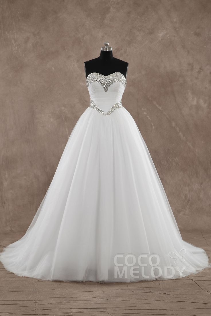 Sweet Ball Gown Sweetheart Basque Train Tulle Ivory Sleeveless #WeddingDress with Crystal LD3571 #cocomelody