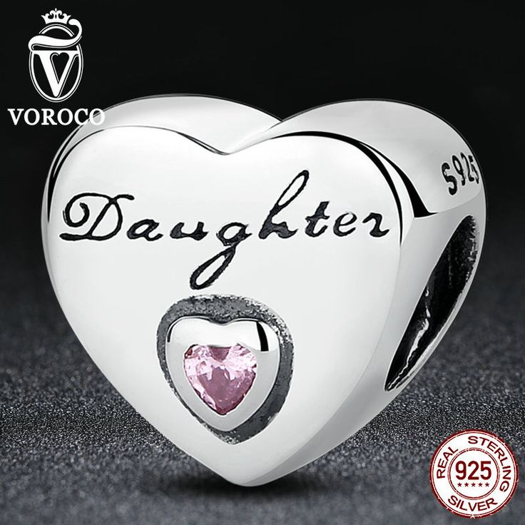 925 Sterling Silver Daughter's Love, Pink CZ Bead Charms fit Bracelets Women Fashion Jewelry S323