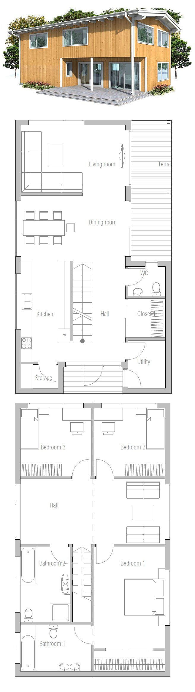Small house plan. Suits well to small and narrow lots. Small home design with affordable building budget.