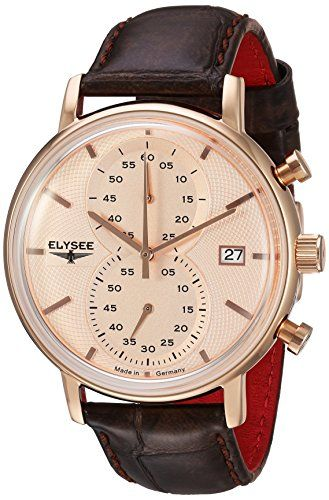 nice ELYSEE Men's 'Classic-Edition' Quartz Gold and Leather Casual Watch, Color:Brown (Model: 83821.0)