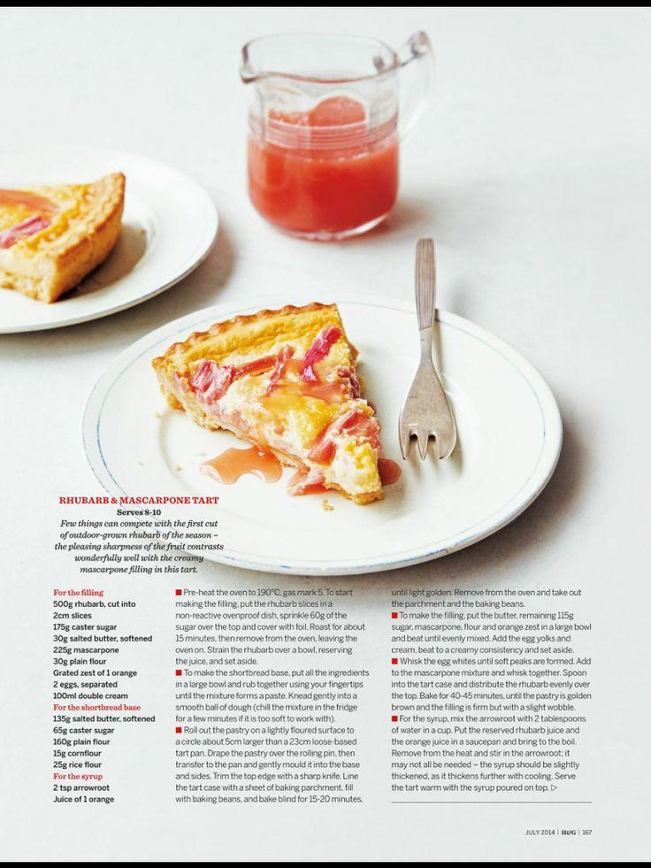 Rhubarb and mascarpone tart