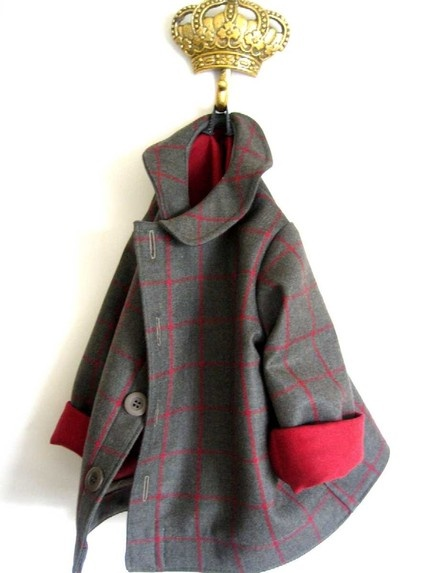 Winter Peacoat made to order from superb European double-sided wool coating for girls and boys. Absolutely adorable. Sizes 12mos-4T. $110. New Zealand.