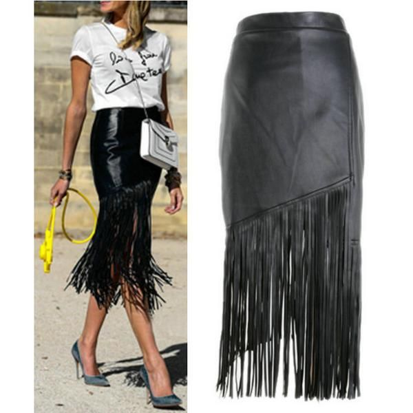Cheap Skirts, Buy Directly from China Suppliers:2015 fashion high street tassel fringe skirt black punk high waist faux leather skirt knee length pencil falda larga&nbs