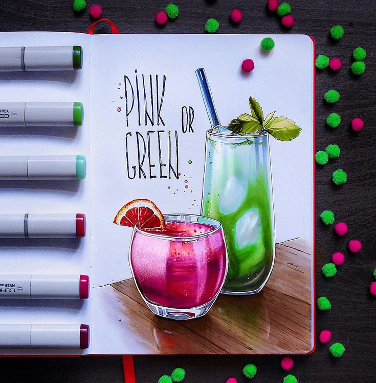 Blood orange punch and matcha mint juleps (напиток из зеленого порошкового чая, мяты и бурбона)  #leuchtturm1917, #illustration, #sketch, #copicmarker, #copic, #copicart, #art, #coctail, #instaart, #иллюстрация
