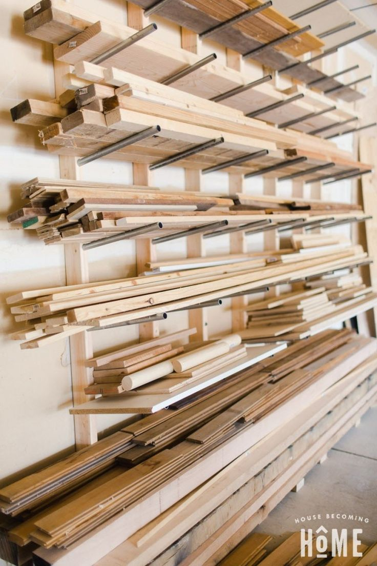 Build a Simple, Affordable, Heavy-Duty DIY Lumber Rack from inexpensive and conduit. Perfect storage solution for lumber. Tips and free instructions. Woodworking Shop Layout, Popular Woodworking, Woodworking Projects Diy, Woodworking Plans, Workbench Plans, Woodworking Organization, Welding Projects, Lumber Storage Rack, Lumber Rack