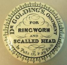 SCARCE VICTORIAN DR GOLDINGS OINTMENT RINGWORM & SCALLED HEAD POT LID