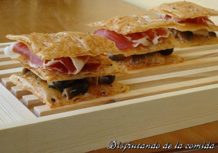 Milhojas de Setas y Jamón Ibérico - Disfrutando de la comida