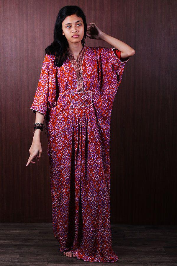 Fancy Moroccan Sequin Kaftan Batik Cotton Exclusive Party Maxi Dress For Petite #Handmade #MaxiDress #Wedding