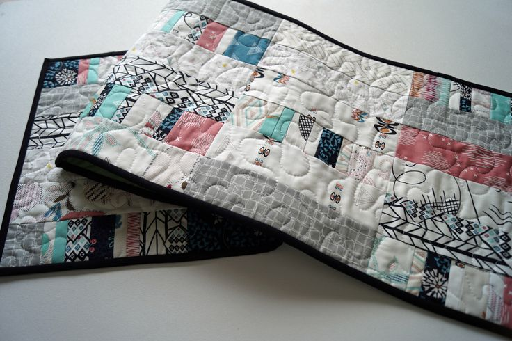 Quilted Patchwork Table Runner in Modern Eclectic Fabrics by MyBitOfWonder on Etsy https://www.etsy.com/listing/293588667/quilted-patchwork-table-runner-in-modern