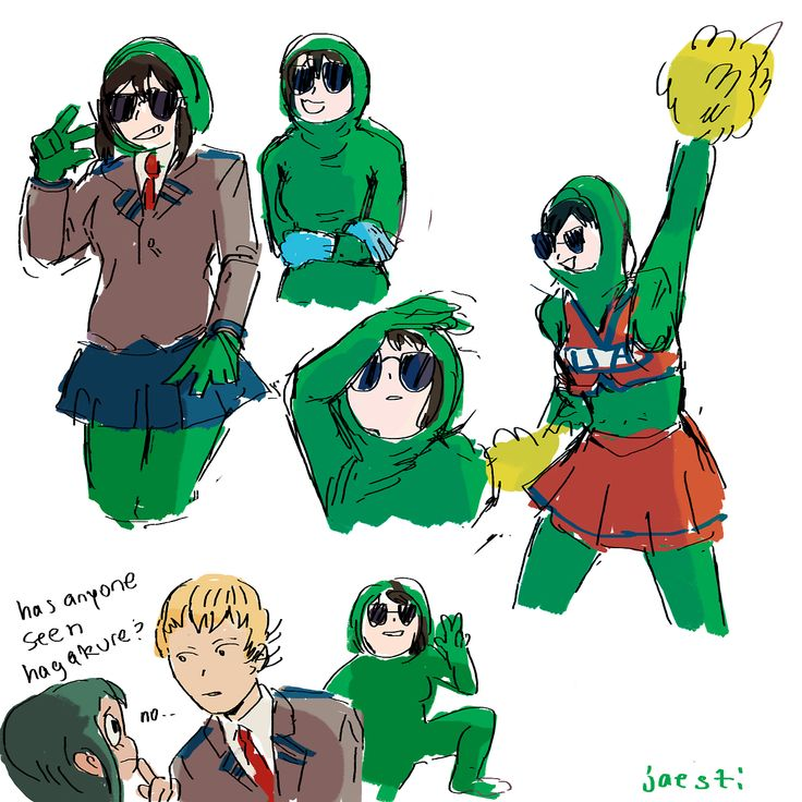 au where everything is the same except tooru wears a green screen suit and everyone pretends they can't see her
