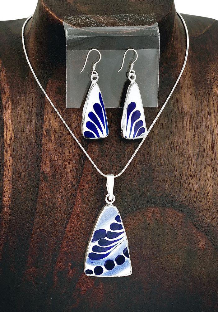 Handmade Blue and White Talavera Pendant Earring Set Jewelry Taxco Mexico #Handmade #Talavera