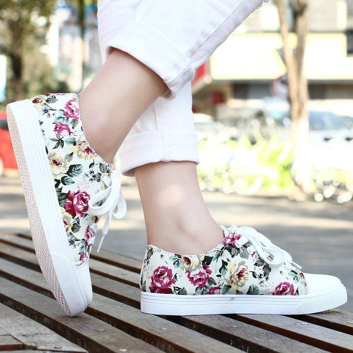 Малый цветок шнуровка плоским пятки обувь одного цветка женские случайные квартиры ножки на шнурках плоские холст кроссовки 212,47