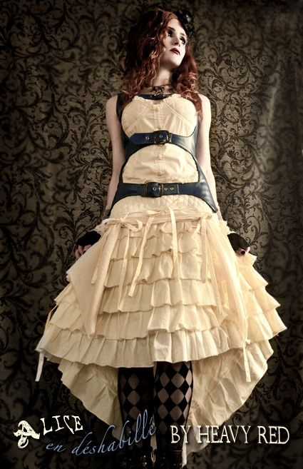 Alice in Wonderland Gothic Steampunk costume. Alice en deshabille - dress and corset costume by Heavy Red.