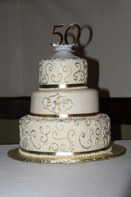 Gorgeous cake at  a 50th Wedding Anniversary! See more party ideas at CatchMyParty.com!