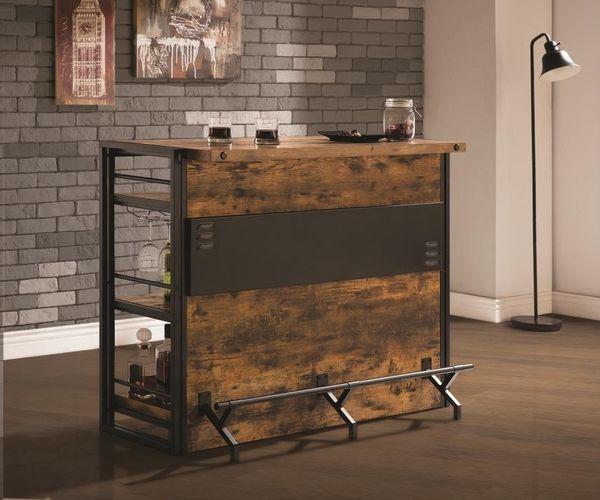 Brawley Antique Nutmeg Wood Metal Bar Unit By Coaster Wine Storage Basement Bar Designs Basement Bar