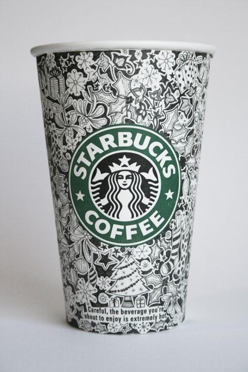 Starbucks cup design by Johanna Basford