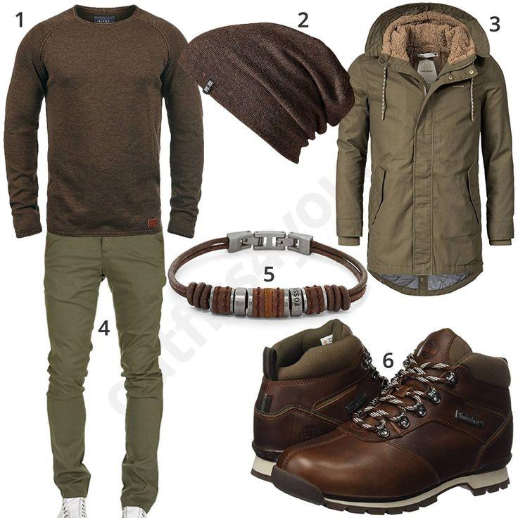 Winteroutfit für Herren in Khaki und Braun (m0865) #pullover #armband #stiefel #jacke #gent