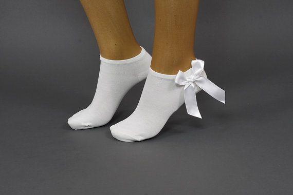 with satin ribbon bows sock  bamboo sock bow by DayfitFashion, $16.00