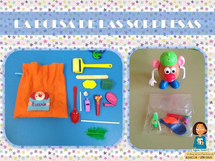Bolsas con materiales para trabajar la terapia miofuncional en nuestras aulas y casa.  http://blogdelosmaestrosdeaudicionylenguaje.blogspot.com.es/2014/05/la-bolsa-de-las-sorpresas-para-trabajar.html