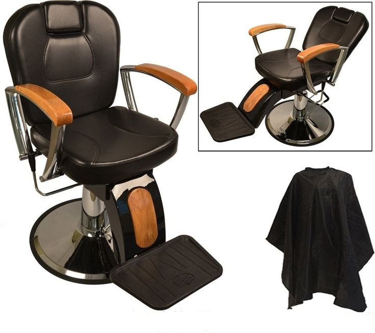 This solid Classic-Style Barber Chair is heavy duty and has a classic Barber Shop design, sleek styling, a reclining back, extendable headrest, and a raising footrest. FREE Deluxe Extra Large Cutting Cape.