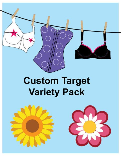 """Make a statement at the range with these custom targets unique to Girly Gun Gear. The playful design is reminiscent of the carnival games from your youth and will prove fun and challenging for shooters of all skill levels.    Variety pack includes 12 """"Flower Power"""" targets and 12 """"Laundry line""""  ..."""
