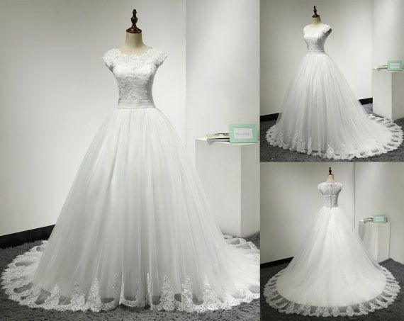 Lace Ball Gown Wedding Dress Lace Covered Back by MelissaLife89