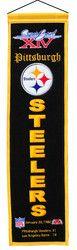 "Pittsburgh Steelers - Super Bowl 14 Wool Heritage Banner - 8""x32"""