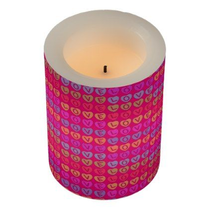 LOVE Pink LED Candle - home gifts ideas decor special unique custom individual customized individualized