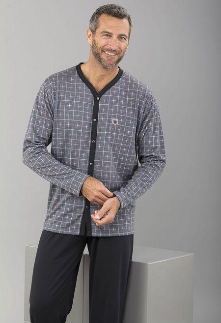 Pijama hombre invierno punto abierto de la firma textil Massana