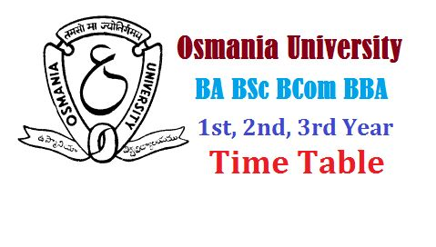 Osmania University Time Table 2016 BA BCom BSc 1st 2nd 3rd Year Exams March / April   The Osmania ...