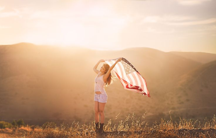 Patriotic portrait with American Flag | San Diego Photographer Paige Nelson