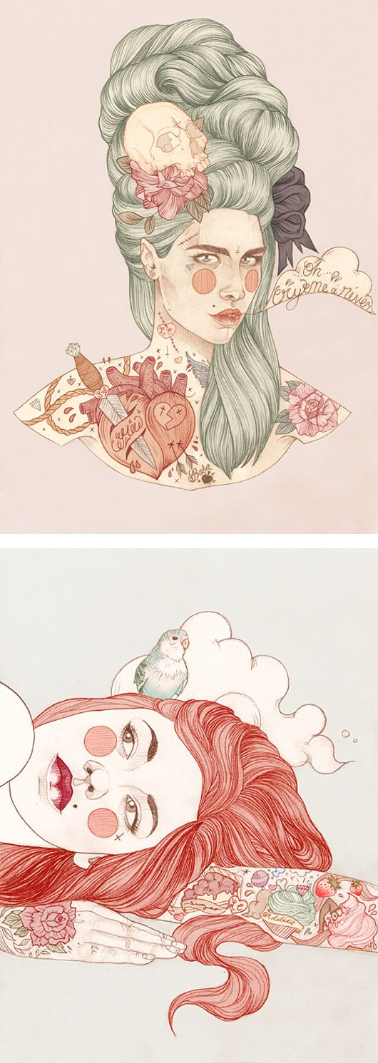 Geniales ilustraciones tatuadas por Liz Clements #Tattoo #