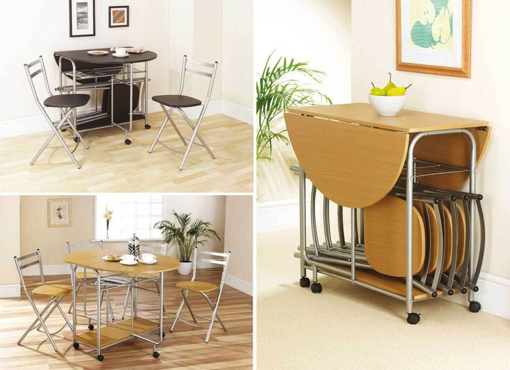 Details about folding dining table and chairs space for Kitchenette sets furniture