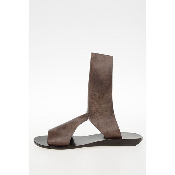 Rick Owens Leather SILVER WEDGE SPARTAN Sandal Shoes DARKDUST ($310) ❤ liked on Polyvore featuring shoes, sandals, brown, brown sandals, silver wedge sandals, wedge sandals, peep toe wedge sandals and silver wedge shoes