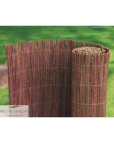 Naturbelassene Weidenruten wurden mit einem Draht zur Matte verarbeitet. Idealer Rollzaun als Balkonverkleidung. Die Höhe und Breite ist variabel mit einer Astschere kürzbar. Auch als Winterschutz für Pflanzen geeignet.