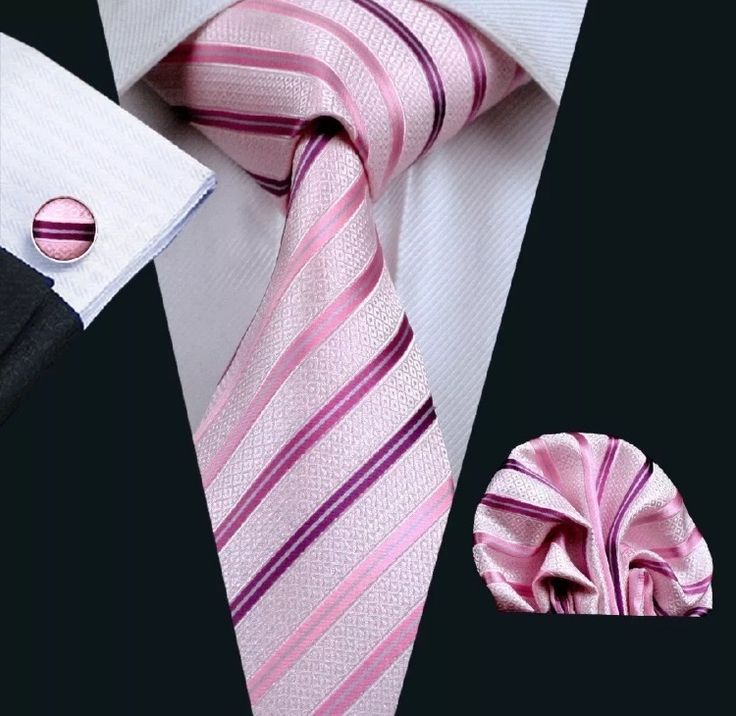 """This is a brand new men's silk tie set. Set includes coordinating tie, handkerchief and cuff link.    Tie length is 61"""" from end to end, and 3.25"""" width at the widest part of the tie.    **Please Note** This item requires three (3) weeks to ship.  Pleasetake the shipping time into consideration prior to placing your order. Thank you ~    International shipping is available for this item.  