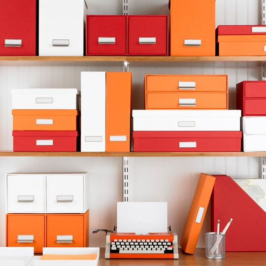 Color matched organization, Home office, Color coded splash, Bright storage, Shelving, Open cabinets.