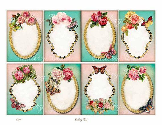 FANTASY cornici Collage digitale foglio Download immediato per